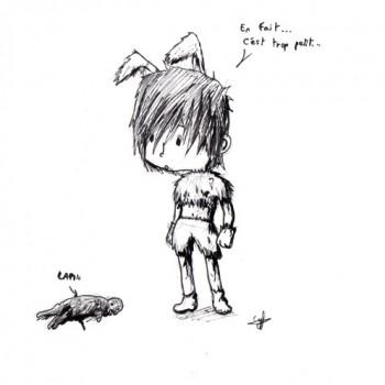 Dessin trop petit par Cyfe - Lapin mort - Pour Ayaluna - Festiblog 2011 - En fait... c'est trop petit...